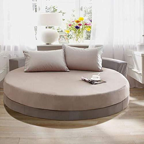 Heguowei Sábana Ajustable Redonda de algodón Puro Sábana de Color sólido de Estilo Europeo y 2 Fundas de Almohada Ropa de Cama para Ronda 200 cm * 220 cm