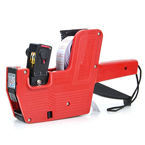 Price comparison product image Zorpia Mx-5500 Single Row Labeler Price Tag Label Gun Plastic 8 Digits Hand Price Labeller Tag Gun+ Ink Roller + Single Row Label Paper Price Sticker Roll for Offices & Markets (red)
