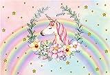 Cassisy 2,2x1,5m Vinilo Unicornio Telon de Fondo Unicornio Rosa Estrellas de Oro Rainbow Fondo De Pantalla De Garland Pastel Fondos para Fotografia Party bebé Infantil Photo Studio Props Photo Booth