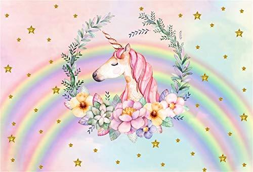 Leowefowa 2,2x1,5m Vinilo Unicornio Telon de Fondo Unicornio Rosa Estrellas de Oro Rainbow Fondo De Pantalla De Garland Pastel Fondos para Fotografia Party bebé Infantil Photo Studio Props Photo Booth