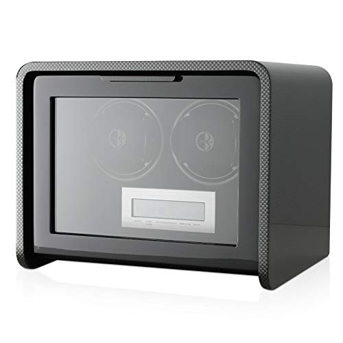 Double Watch Winder Box for self-Winding 1 or 2 Automatic Watches with LED case Backlight and LCD Touchscreen Display for All Watch Brands and All Watch Sizes (Carbon)