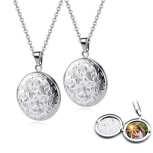 JSDDE - 2 medaglioni per coppie, collana apribile, foto personalizzate, ciondolo a forma di cuore, collana dell'amicizia, amuleto regalo per donne e ragazze e Acciaio inossidabile, colore: rotonda.
