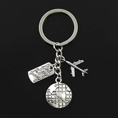 N/ A SGDONG Fashion 30Mm Sleutelhanger Sieraden Zilver Kleur Reizen Zoek Vreugde In Reis Vliegtuig Hanger