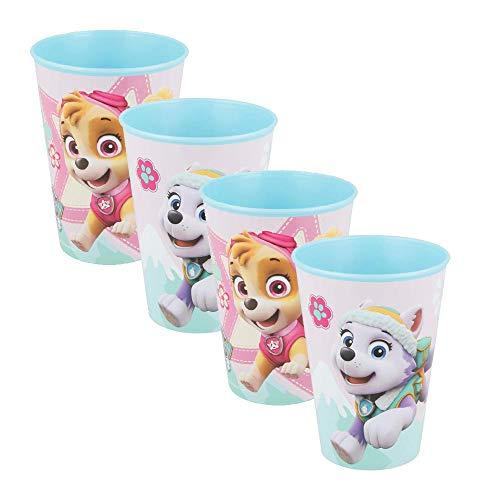 Juego de 4 vasos de plástico duro para niña de la Patrulla Canina Azul de 260 ml.