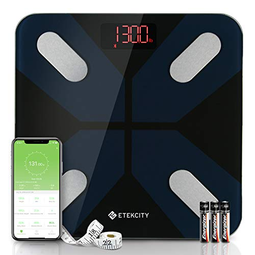 Etekcity Smart Body Fat Scales, Digital Bathroom Scale Bluetooth Weighing Monitor Sync with Smartphone APP 13 Data Body Composition Analyzer for BMI, Visceral Fat, Muscle, 28st/180kg/400lb