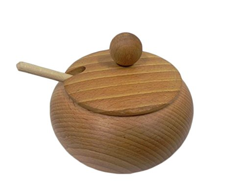 Zuccherierain legno con coperchio e cucchiaio Bellissima idea regalo-Diametro 10cm/C01