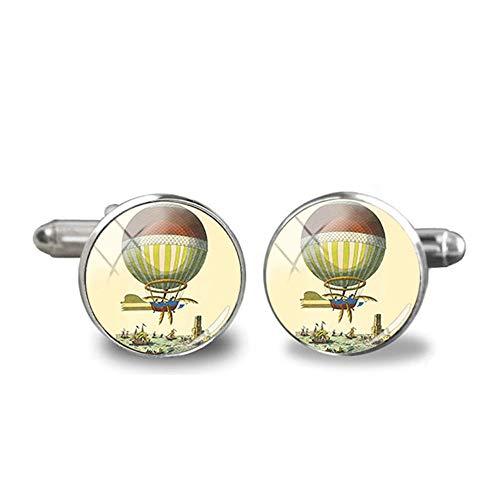 Shah Cufflinks Auto und Luftballons Manschettenknopf Luftballon Art Glas Foto Manschetten Zubehör Vintage Manschettenknöpfe für Männer Frauen Geschenke 5