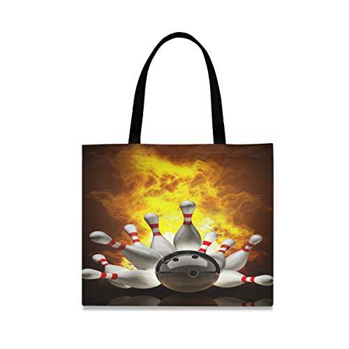 XiangHeFu Einkaufstasche Mode Handtasche Griff Wiederverwendbare Bowlingkugel mit großer Kapazität Feuer lässig