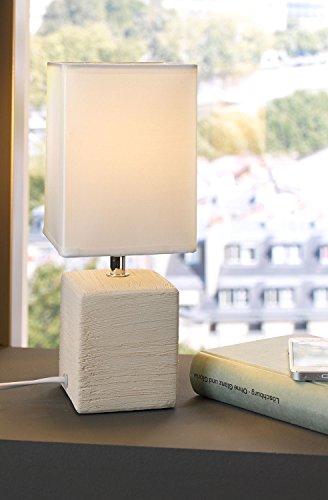 Nachttischlampe Tischleuchte Tischlampe | Keramik | Stoff | Cream | ohne Leuchtmittel