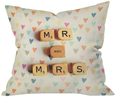 DENY Designs Happee Monkee Mr. and Mrs. Throw Pillow, 16 by 16 Inch