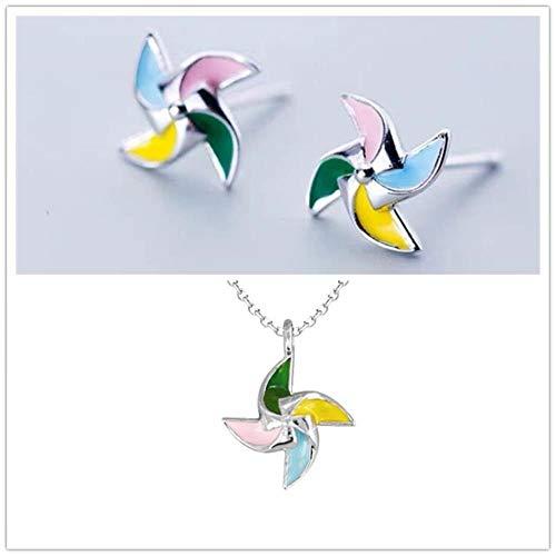 HPOZA Mädchen Bunte Windmühle Stud Ohrring Set Schmuck Weibliche Trendy 925 Sterling Silber Halskette Frauen Halsband Zubehör