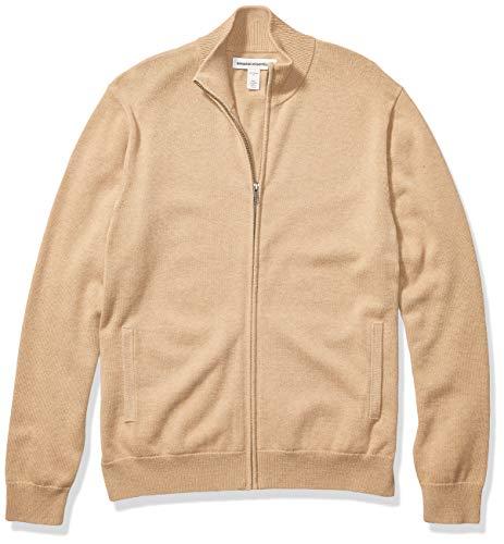 Amazon Essentials Men's Full-Zip Cotton Sweater, Camel Heather, Medium