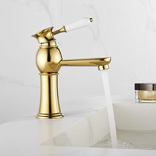 Grifo de baño para lavabo dorado vintage de latón mezclador de baño monomando de cerámica con flexibles agua (Baso, dorado)