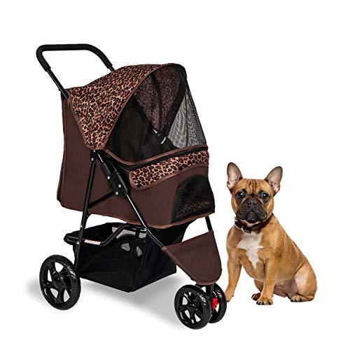 Kinpaw Pet Stroller Foldable Cat Dog Stroller Carrier w/3 Wheels, Storage Basket and Removable Liner, Leopard Brown