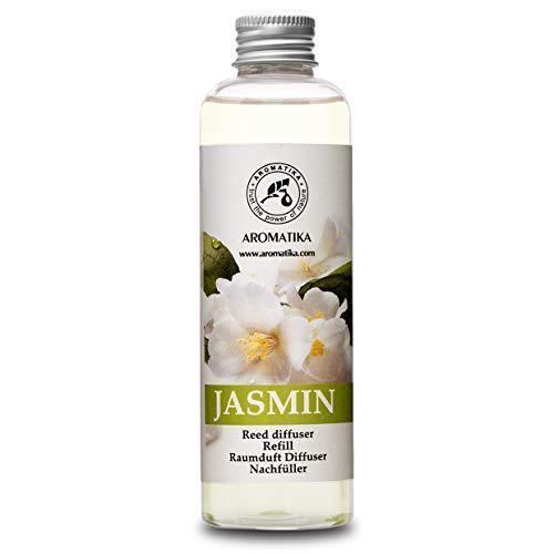 Recambio de difusor Jazmín 200ml - Aceite Esencial Puro & Natural Jazmín - Aroma de Intensas y Duraderas - 0% Alcohol - para Aromatizar el Aire en Cuartos - Baños - Hogares - Difusor Perfume