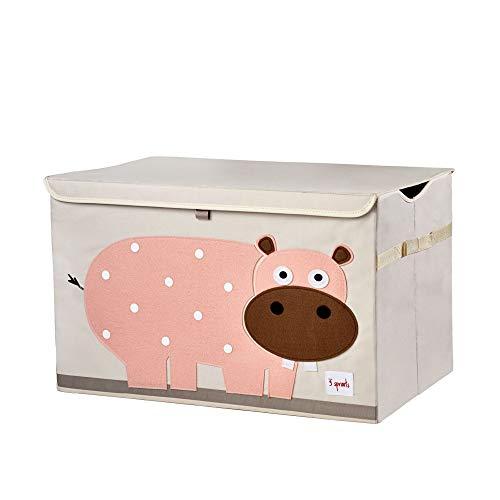 3 Sprouts Kids Toy Chest - Baúl de almacenamiento para habitación de niños y niñas, hipopótamo