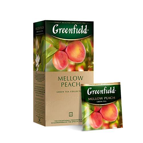 Greenfield Mellow Peach, Aromatisierter Grüner Tee, Mandarine, Pfirsich, Rose, 25 Doppelkammer-Teebeutel mit Etiketten in Folienbeuteln, (25 x 1,8 g), 45g [4 Stück]