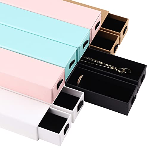Jodsen 10 Pack of Jewellery Box Drawer Bracelet Gift Wrapping Boxes,5 Colors Kraft Square Earings Rings Necklaces Paper Gift Box for Suprise Party Festival Anniversaries 21 * 4.5 * 3.5cm