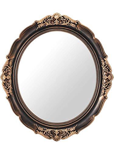 OMIRO Espejo decorativo de pared, vintage para colgar en dormitorio, sala de estar, aparador, ovalado, bronce antiguo, 33 cm de ancho x 38 cm de ancho