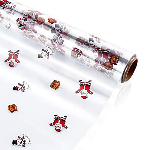 Tomaibaby - Rollo de papel de celofán transparente para envolver regalos de Navidad, flores de comida, artes y oficios (2,5 m)