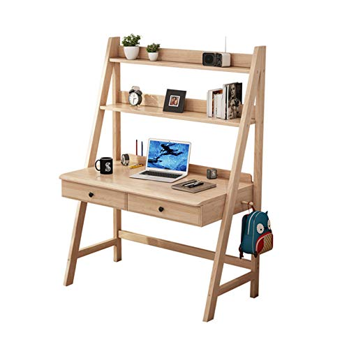 XSN Kindertisch Kindersitzgruppe Kindermöbel Speicher Bücherregal Auf Dem Desktop,Mit 2 Schubladen,Haken Auf Beiden Seiten des Desktops,Für Kinder Geeignet