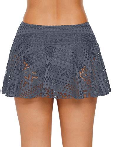 Bsubseach Mujer Gris Falda de Bikini de Encaje con Cintura Media Parets de Abajo de Bañador de Crochet…