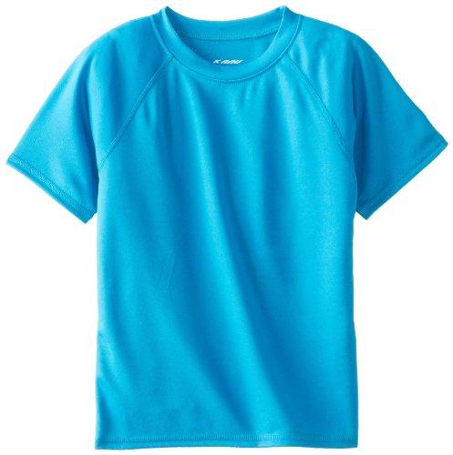 Kanu Surf Boys' Big Short Sleeve UPF 50+ Rashguard Swim Shirt, Solid Aqua, Large