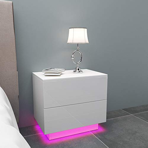 YOLEO Nachttisch 2er Set, LED Nachtschrank Hochglanz Nachtkommode Nachtkonsole mit 2 Schubladen, Beleuchtung Ablagetisch Beistelltisch für Schlafzimmer Wohnzimmer (Weiß/55x37x50cm)