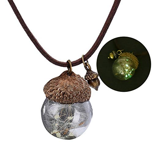COSYOO Anhänger Halskette Gefälschte Tannenzapfen Löwenzahn Samen Leuchtende Halskette Tropfen Halskette Charm Halskette