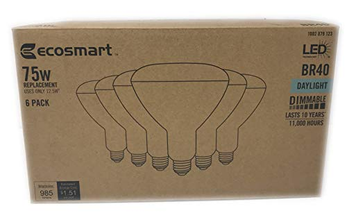 Ecosmart 75w LED BR40 Dimmable Floodlights Daylight 6-Pack