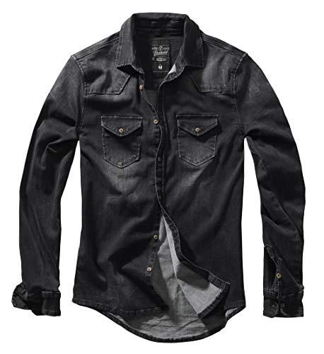 Brandit Homme Chemise Jeans Riley Denimshirt - Noir (Noir 2), M