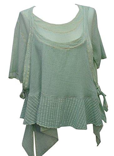Kekoo Design Lagenlook 2-teiliges Top/Tunika in Übergrößen S/M/L Brustumfang: 116,8–137,2 cm. Gr. Small, grün
