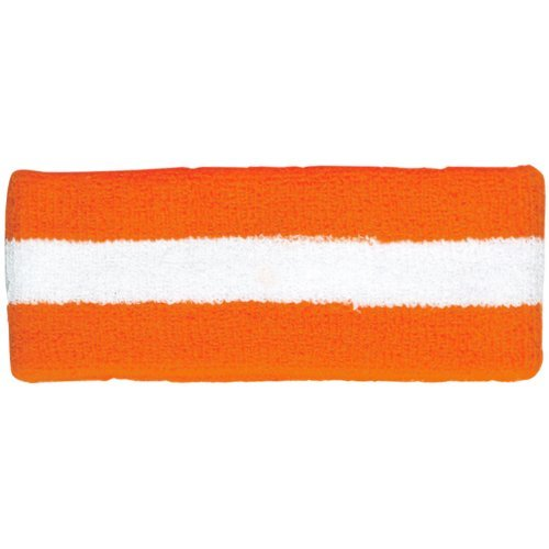 Striped Cotton Terry Cloth Moisture Wicking Head Band (Orange/White) by MG