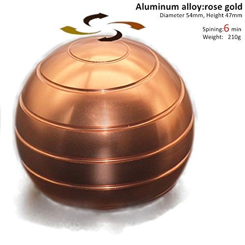 ELAUN 210g 54mmX47mm Aluminum alloy Kinetic Desk Toy Stress Relief Office Executive Gadgets Metal Ball with Optical Illusion for Adults and Kids Anti Anxiety ADHD Relieve Stress (Rose Gold, 54mmX47mm)