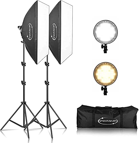 ShowMaven LED Softbox Lighting Kit, 20x28 inches Studio Softbox, 45W Dimmable LED Light with 2 Color Temperature for Photo Studio Portrait, Video Shooting
