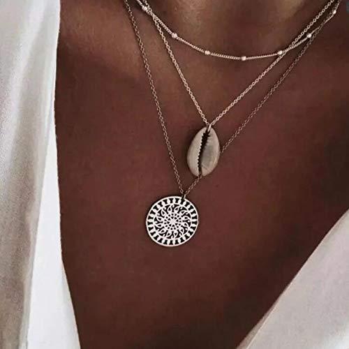 Jovono Boho - Collar con colgante de concha multicapa para mujeres y niñas (plata)