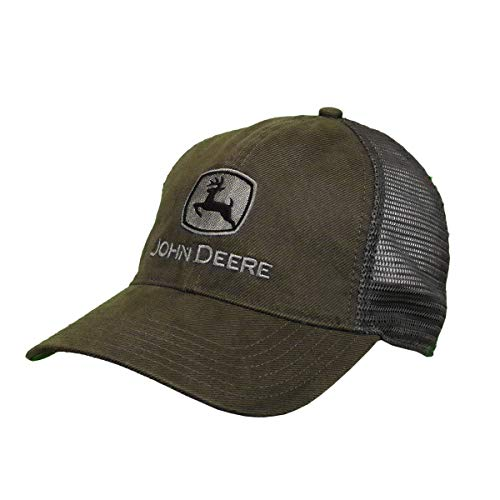 John Deere Oilskin Mesh Hat W/Silver Logo, Drab Green, Grey/White, One Size