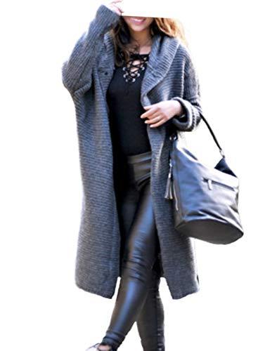 LOSRLY Mujer Moda Invierno Caliente Abrigo Espesar Frente Abierto Suéter Cárdigans Largo con Capucha de Punto Ropa Exterior