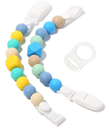 Bonbino Teether Pacifier Clips - (2 Pack) Silicone Pacifier Holders for MAM, Nuk & Soothie - Fun, Colorful and BPA-Free - Pacifier Holder (Blues)