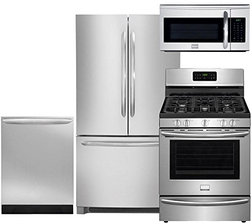 """Frigidaire 4-Piece Smudge-Proof Stainless Steel Set, FGHN2866PF 36"""" French Door Refrigerator, FGGF3035RF 30"""" Gas Range, FGID2466QF Fully Integrated Dishwasher and FGMV175QF Over the Range Microwave"""