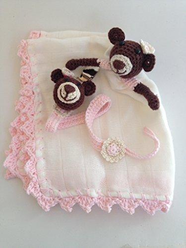 Conjunto de trapito de apego Doudou y chupetero de osa rosa para bebés . Hecho a mano. Un regalo original para recién nacido.
