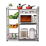 """3-Tier Kitchen Microwave Storage Rack Oven Stand Strong 304 Stainless Steel Shelves Free Standing Baker's Rack with Wheels Shelving Utility Unit with Wire Baskets 36.2"""" Lx14.6""""Wx40.9"""" H (Silver)"""