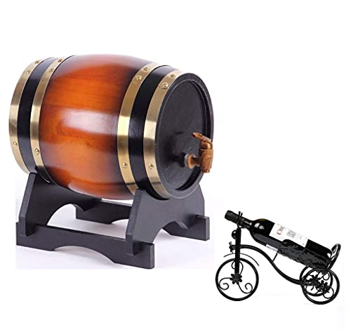 Contenedor de vino de madera para el hogar, barril de vino de roble, dispensador de agua para cubos de whisky, barriles de roble de 1,5 l para almacenar su propio vino, whisky, cerveza, ron (con grifo