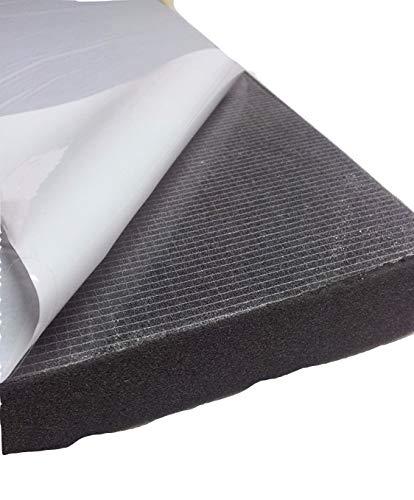Glatt Schaumstoff Selbstklebend Dämmung Schallschutz mail (100cm x 50cm x h) Weiß o. Schwarz (100x50x2, Anth/Schwarz)