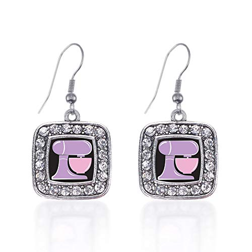 Inspired Silver - Baking Mixer Charm Earrings for Women - Silver Square Charm French Hook Drop Earrings with Cubic Zirconia Jewelry