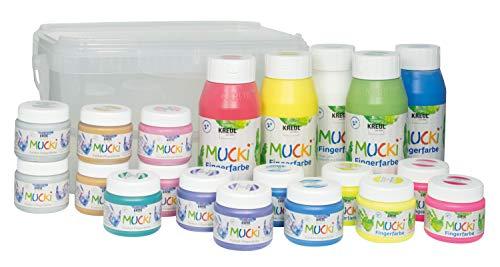 Kreul 29160 - Big Box Fingermalfarbe, zum vielseitigen Basteln, Malen und Verzieren mit Kindern, 20 teilig, ideal auch für Kindergarten, Kita, Schule, Hort und Therapie