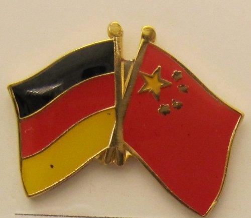 China / Deutschland Freundschafts Pin Anstecker Flagge Fahne Nationalflagge Doppelpin Flaggenpin Badge Button Flaggen Clip Anstecknadel