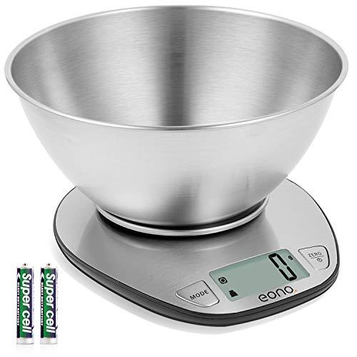 Amazon Brand – Eono Báscula de cocina digital; báscula de acero inoxidable con cuenco desmontable para hornear y cocinar; con función de tara y pantalla LCD; 5kg; 15años de garantía