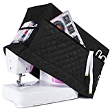 Addicted DEPO Sewing Machine Cover with 3 Convenient Pockets - Protective Quilted Dust Cover Pro - Universal for Most Standard Singer & Brother Machines | Rodi's (Black)