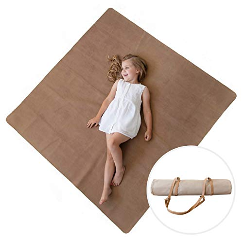 Sonder Leather Multipurpose Mat - Kids Luxurious Picnic Mat - Waterproof and Sand Proof Beach Blanket - Indoor and Outdoor Play Mats - High Chair Mat - Includes Carrying Strap for Easy Travel (Brown)